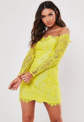 Missguided Yellow Eyelash Lace Bardot Bodycon Mini Dress