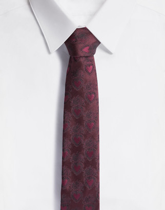 Dolce & Gabbana Silk Jacquard Blade Tie With Heart Design (6 Cm)