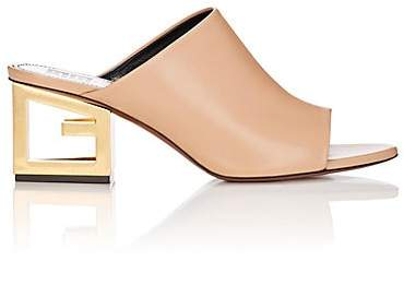 Givenchy Women's Logo-Heel Leather Mules - Beige, Tan