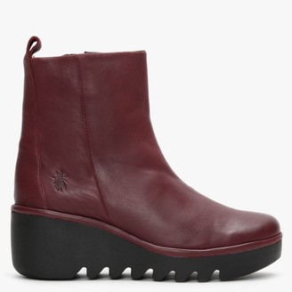 Fly London Bale Wine Leather Wedge Ankle Boots