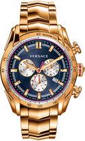 Versace 44mm Men's V-Ray Chronograph Bracelet Watch, Rose Golden/Blue