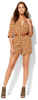 New York & Co. Belted Wrap-Front Romper - Floral