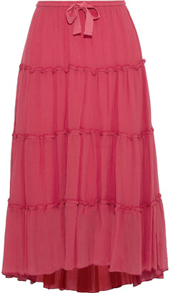 See by Chloe Plisse Cotton And Silk-blend Midi Skirt
