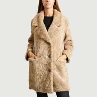 Swildens Beige Faux Fur Long Sleeves Coat - 38