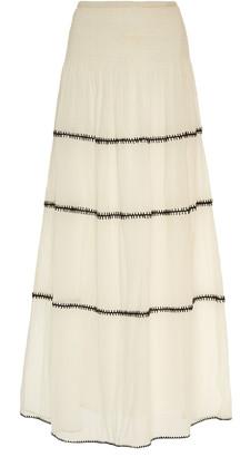 Anaak Lago Embroidered Cotton-Voile Maxi Skirt
