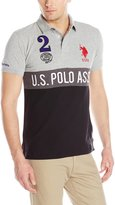 U.S. Polo Assn. Men's Color Block Slim Fit Pique Polo with Number 2 Appliques Front and Back
