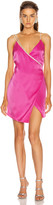 David Koma Crystal Chain Strap Wrap Mini Dress in Fuchsia & Silver | FWRD