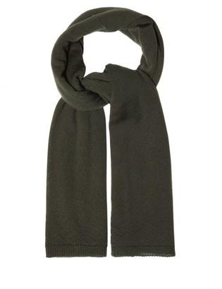 Rick Owens Ribbed-edge Wool Scarf - Green