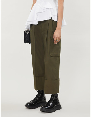 Alexander McQueen Wide-leg high-rise cotton-twill trousers