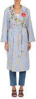 Pero Women's Embroidered Cotton-Linen Belted Robe Coat