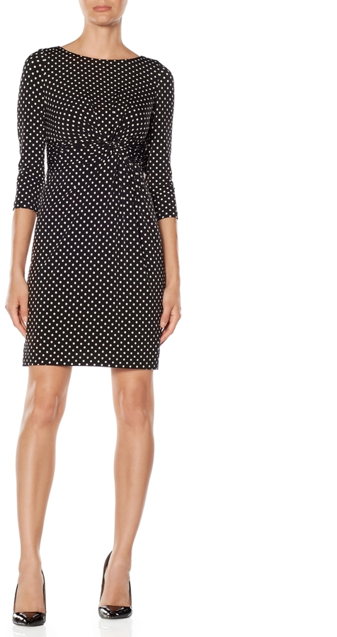 The Limited Polka Dot Knotted Waist Dress