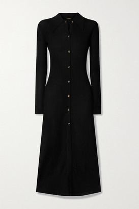 Dodo Bar Or Elisha Ribbed-knit Midi Shirt Dress - Black