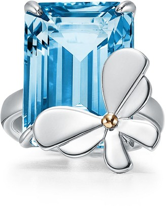 Tiffany & Co. Return to TiffanyTM Love Bugs blue topaz butterfly ring in silver and rose gold