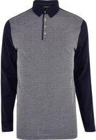 River Island MensNavy contrast long sleeve polo shirt