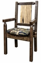 Abella Solid Wood Slat Back Arm Chair in Brown Loon Peak