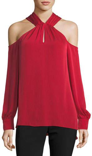 Trina Turk Mitchell Long-Sleeve Silk Halter Top