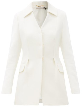 Emilia Wickstead Aiden Single-breasted Wool-crepe Jacket - Womens - Ivory