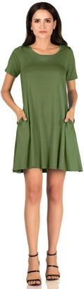 Mia Suri Shirt Womens Short Sleeve Casual Tunic T-Shirt Summer Swing Dress with Pockets(XL = 20/22