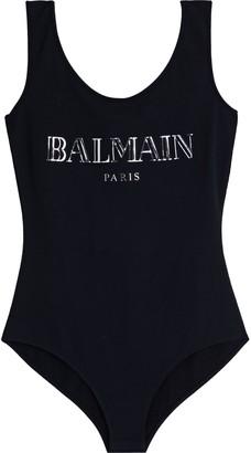 Balmain Metallic Printed Cotton-jersey Bodysuit
