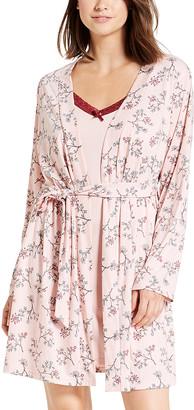 Kathy Ireland Women's Sleep Robes rose - Rose Smoke Floral Chemise & Robe Set - Women