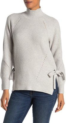 Rebecca Taylor Ribbed Mock Neck Wool Blend Sweater