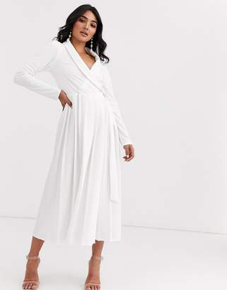 Asos Design DESIGN Long sleeve midi shirt dress with pleated skirt and buckle detail-White