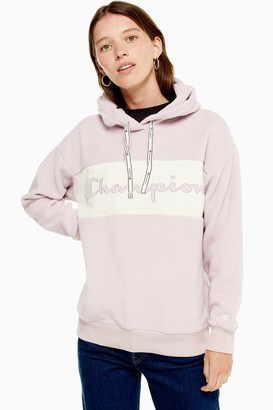 Champion Womens Pink Logo Fleece Hoodie By Pink