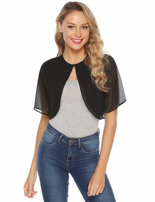 Abollria Womens Shrugs Summer Sheer Chiffon Short Sleeve Open Front Bolero Shrug Jacket XXL Black