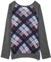 Vince Camuto Two by Plaid Mixed-Media Sweatshirt