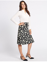 Classic Floral Print A-Line Midi Skirt