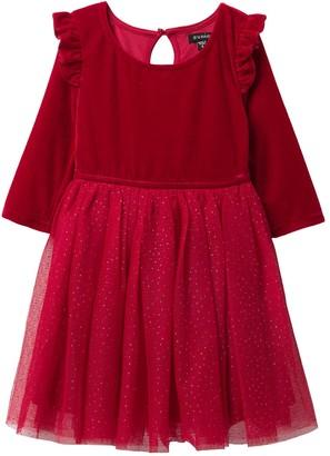 Zunie Velvet Glittery Dress (Toddler Girls & Little Girls)