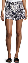 Trina Turk Columbus Avenue Paisley-Print Cotton Shorts