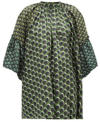 Biyan Siroko Polka-dot Panelled Silk Blouse - Green Multi