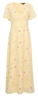 Dorothy Perkins Womens Yellow Ditsy Print Dobby Midi Dress, Yellow