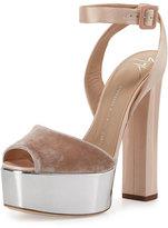 Giuseppe Zanotti Velvet & Leather Platform Ankle-Wrap Sandal, Cipria