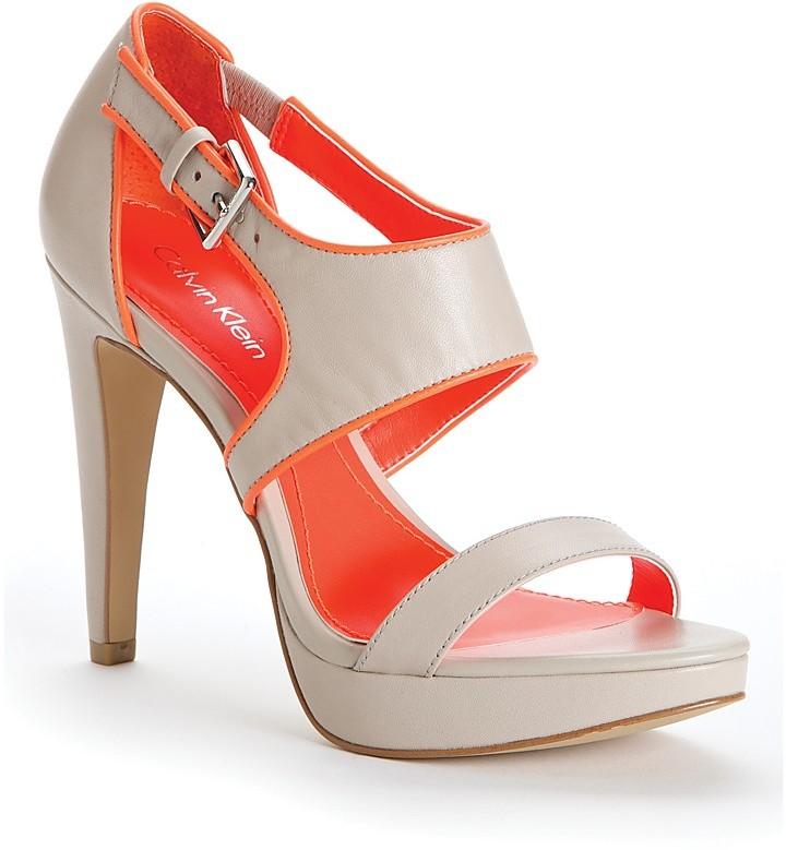 Calvin Klein Open Toe Platform Sandals - Leahanna High Heel