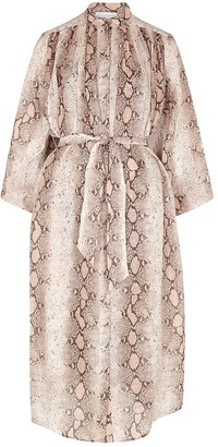 Zimmermann Bellitude python-print ramie midi dress
