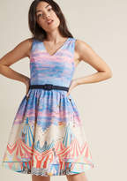 Take Up Space A-Line Dress in Circus Cats in L - Sleeveless Knee Length by ModCloth