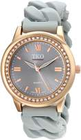 TKO Women's Round Rose Gold Metal Crystal Bezel Stretch Expansion Rubber Chain Link Roman Numeral Watch TK640RGY
