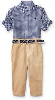 Ralph Lauren Poplin Gingham Button-Down Shirt w/ Pants & Belt, Size 9-24 Months