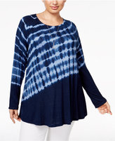 Style&Co. Style & Co. Plus Size Tie-Dyed Top, Only at Macy's