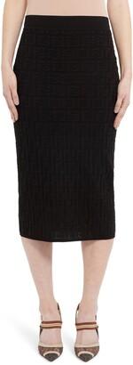 Fendi Tonal Logo Jacquard Pencil Skirt