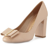 Salvatore Ferragamo Elinda Patent Bow 85mm Pump, New Bisque