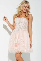 Jovani Sequins and Lace Embellishments Semi-Sweetheart Tulle A-Line Dress JVN37882