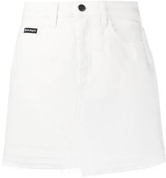 Palm Angels Asymmetric Denim Mini Skirt