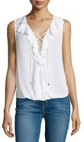 Ella Moss Sleeveless Lace-Up Ruffle Top, White