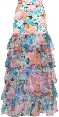 Isolda Tiered Floral-print Cady And Organza Maxi Skirt