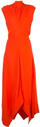 Proenza Schouler Mock Neck Asymmetric Maxi Dress
