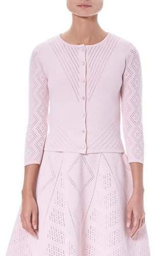 Carolina Herrera Crewneck Button-Front Pointelle Knit Cardigan