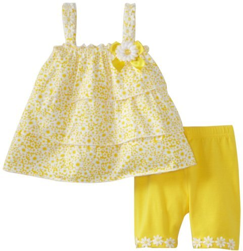 Little Lass Girls 2-6X 2 Piece Bike Short Set With Bow Flower Applique